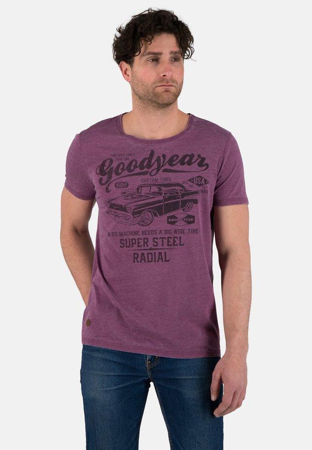 Print T-shirt - marl purple