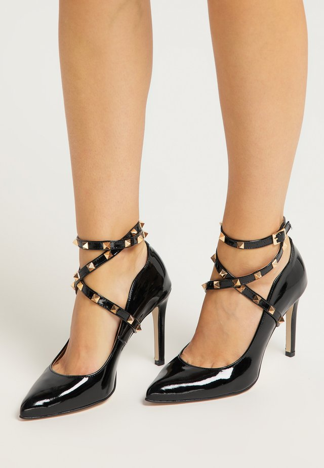 High heeled sandals - schwarz
