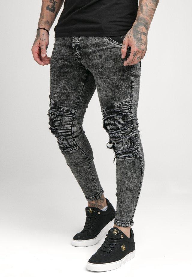 BIKER - Jeans Skinny Fit - black acid wash