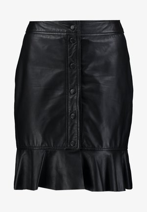 ABBY - Leather skirt - black