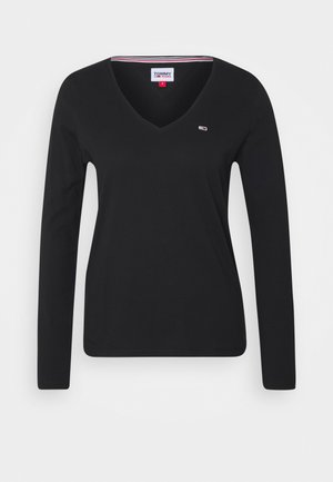 V NECK LONGSLEEVE - Long sleeved top - black