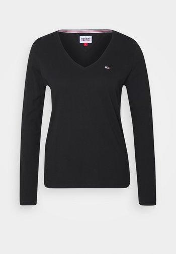 V NECK LONGSLEEVE - Long sleeved top - black