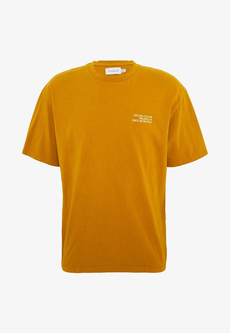 Topman - UNISEX WASHED TEE - Print T-shirt - mustard