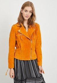 Vila - VICRIS - Leather jacket - golden oak - 0