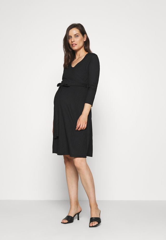 DRESS NURSING CRINCLE - Jerseykjoler - black