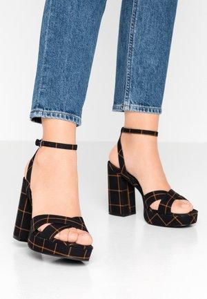 ONLAERIN CHECK - Sandály na vysokém podpatku - black/yellow
