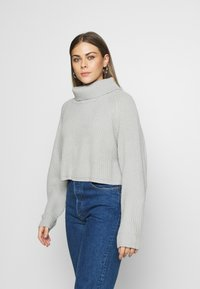 Missguided - ROLL NECK BATWING CROP JUMPER - Jumper - grey - 0
