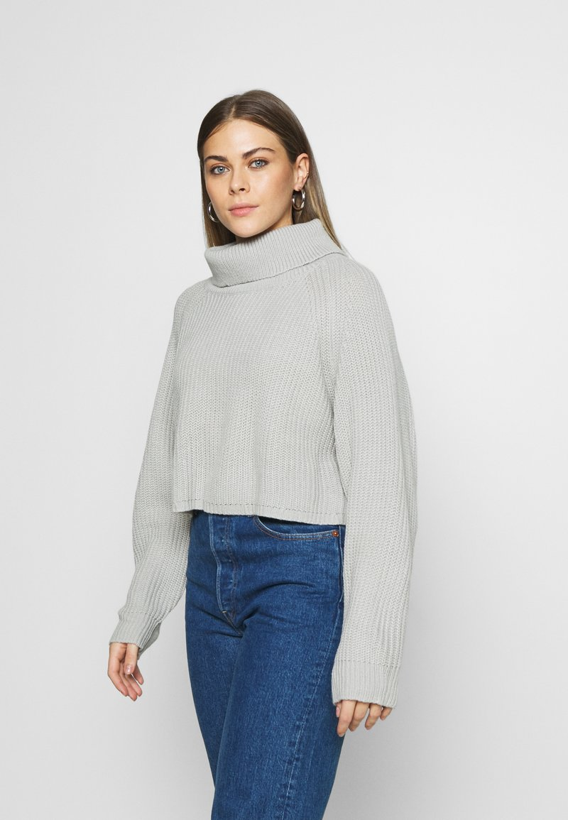 Missguided - ROLL NECK BATWING CROP JUMPER - Jumper - grey