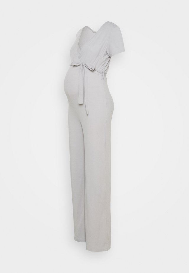 WRAP BELTED WIDE LEG - Overal - grey marl