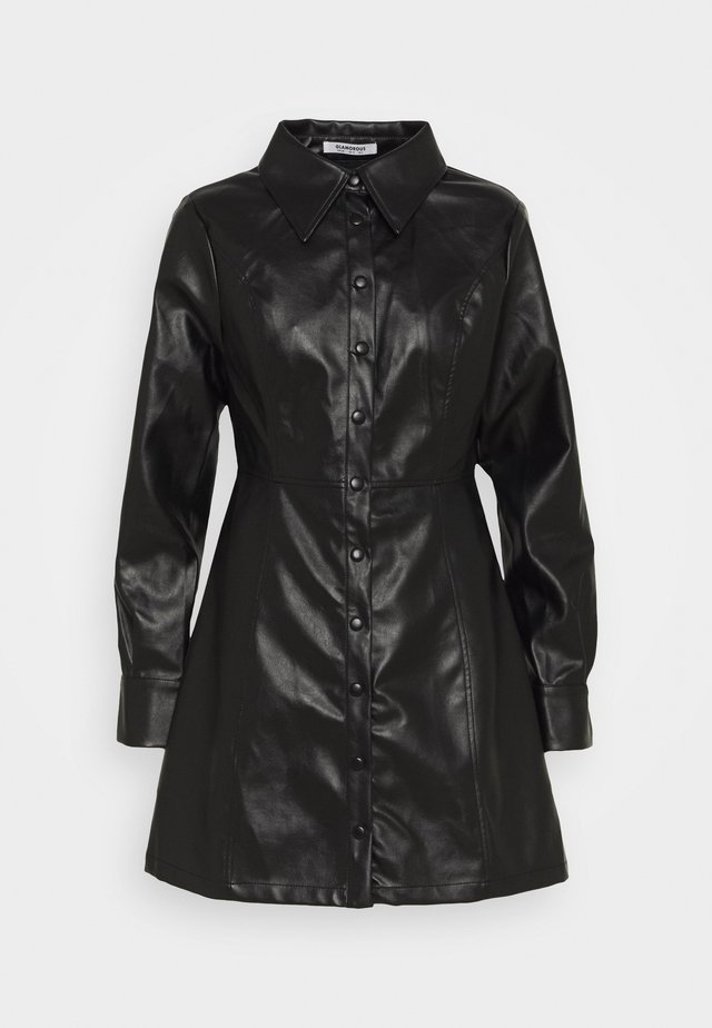 MINI DRESS WITH LONG SLEEVES AND OVERSIZED COLLAR - Vestido informal - black