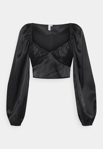RUCHED UP BLOUSE - Camicetta - black