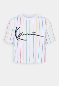 Karl Kani - SIGNATURE PINSTRIPE TEE - Print T-shirt - white - 5
