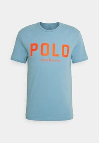 powder blue/orange flash