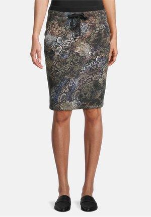 SCHLUPF MIT JACQUARD - Pencil skirt - grün/schwarz