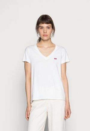 PERFECT V NECK - T-shirt z nadrukiem - white