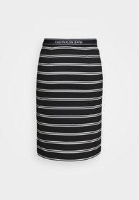Calvin Klein Jeans - LOGO STRIPE MILANO SKIRT - Pencil skirt - black/creamy white - 3