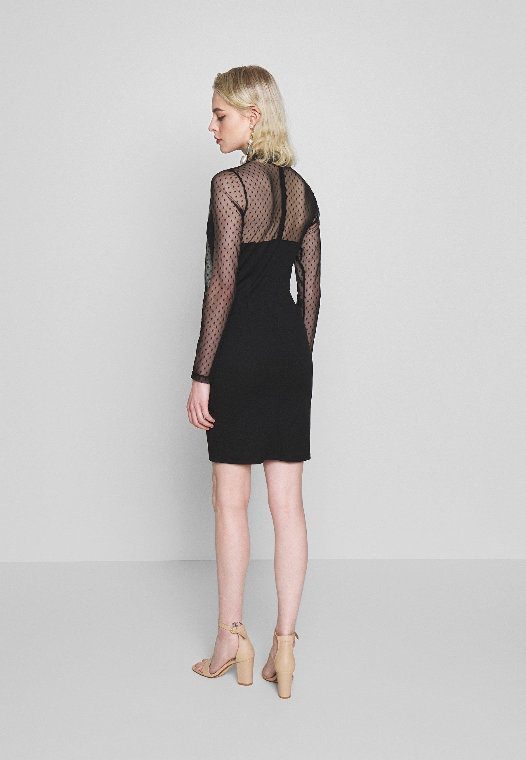 WAL G. LONG SLEEVE DETAILED DRESS Etuikleid black/schwarz