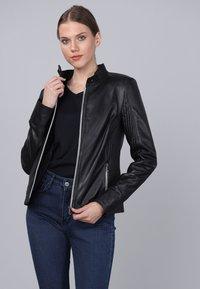 Basics and More - Leather jacket - black - 3
