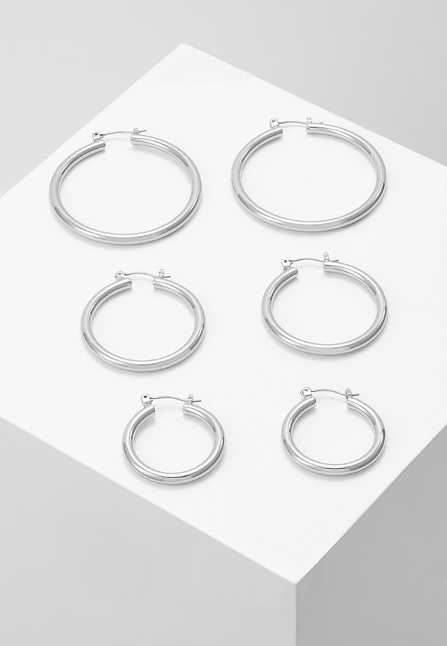 PCSELINDA EARRINGS 3 PACK - Ohrringe - silver-coloured