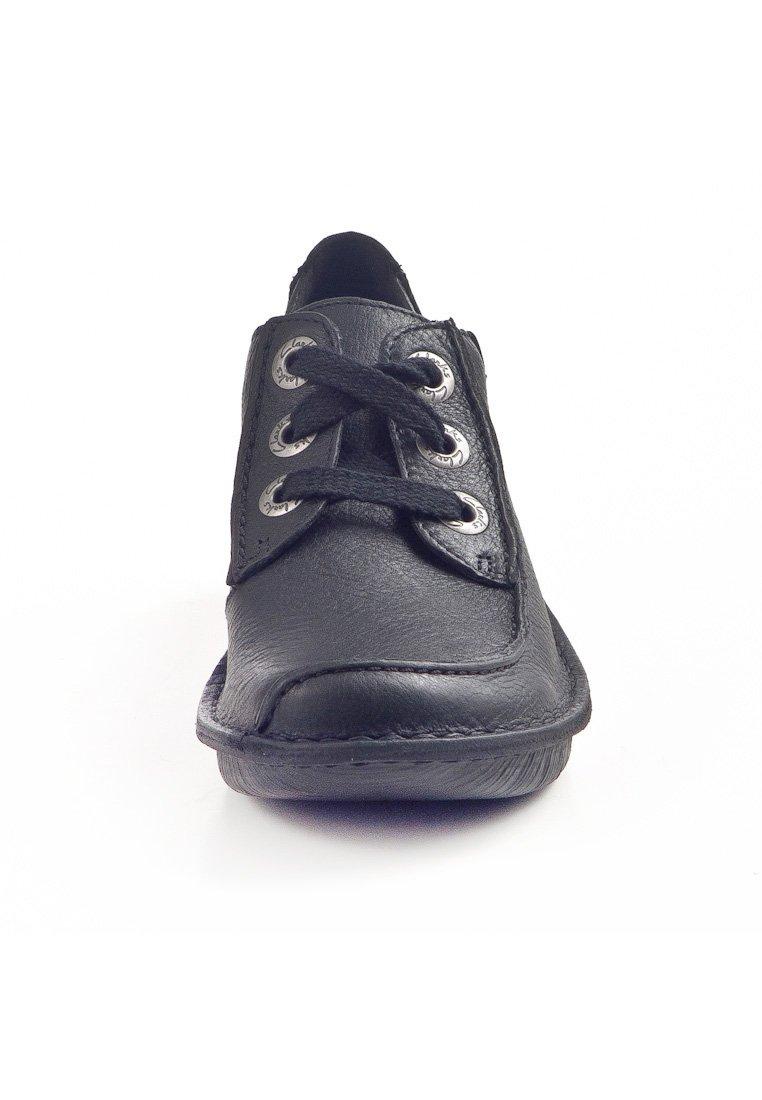 Femmes Clarks Funny Dream Cuir Noir Lacets Décontractées Chaussures
