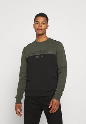 COLOR BLOCK LOGO - Sweatshirt - dark olive/black