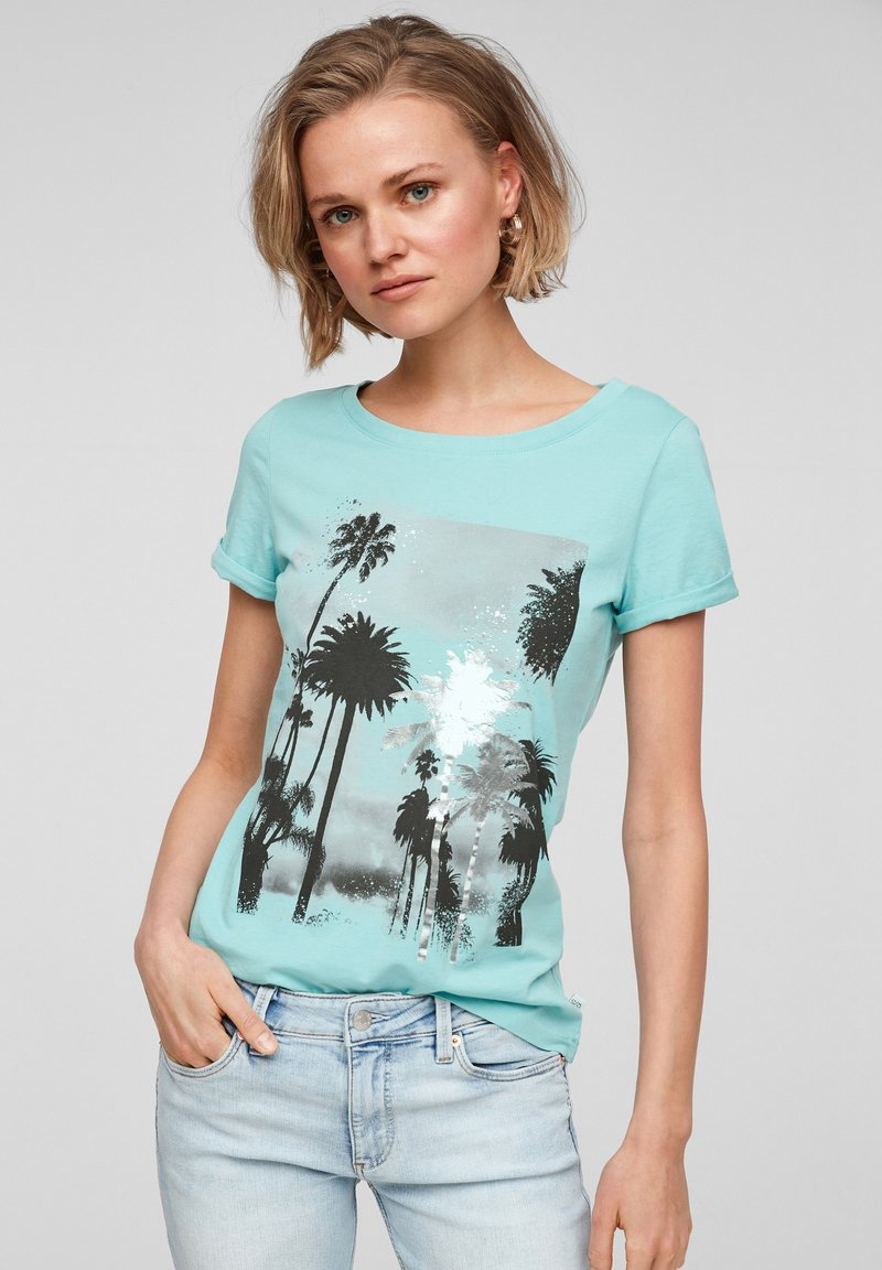 Q/S designed by - Print T-shirt - turquoise