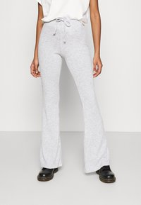 Topshop - TIE FLARE - Tracksuit bottoms - grey marl - 0
