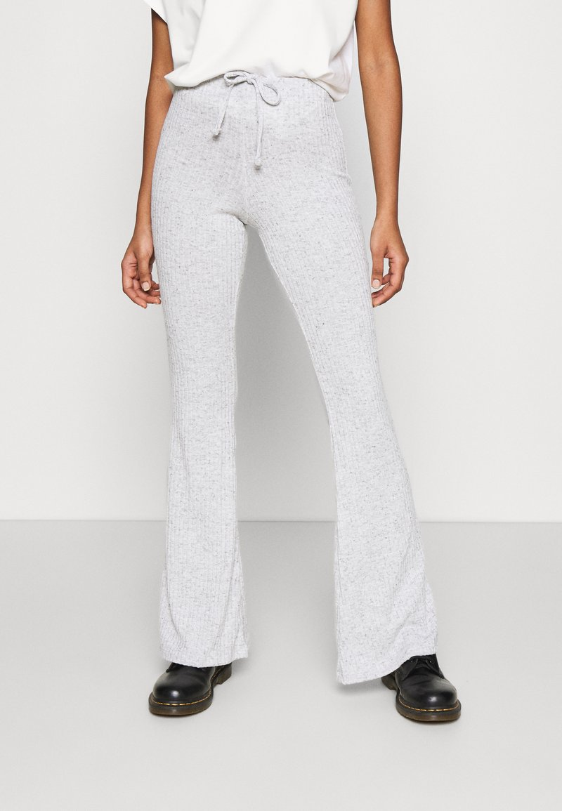 Topshop - TIE FLARE - Tracksuit bottoms - grey marl
