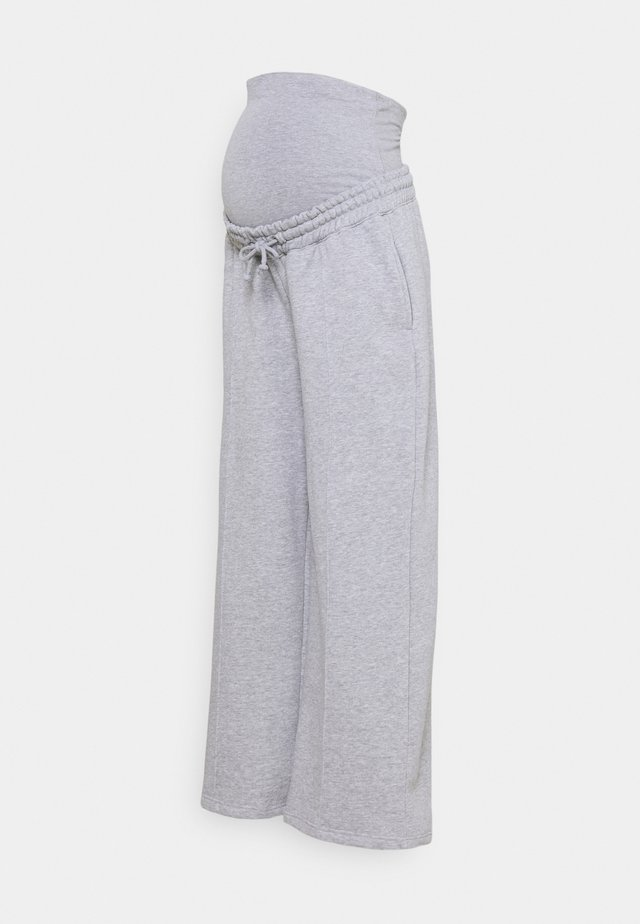 STRAIGHT LEG PINTUCK - Tracksuit bottoms - grey marl