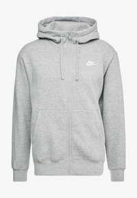 Nike Sportswear - CLUB HOODIE - Sweatjacke - dark grey heather/matte silver/white