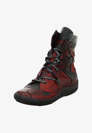 Lace-up ankle boots - rot schwarz