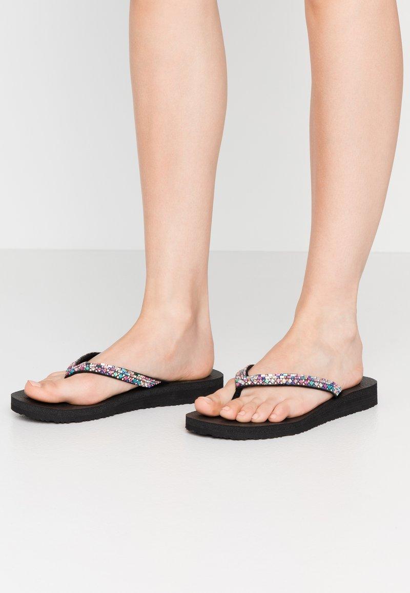 Skechers - MEDITATION - T-bar sandals - black/multicolor
