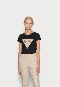 Guess - GHOST LOGO - T-shirt con stampa - jet black - 0