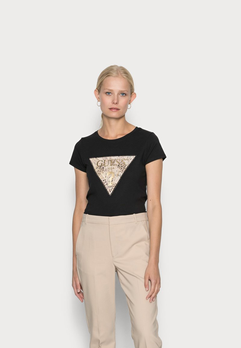 Guess - GHOST LOGO - T-shirt con stampa - jet black