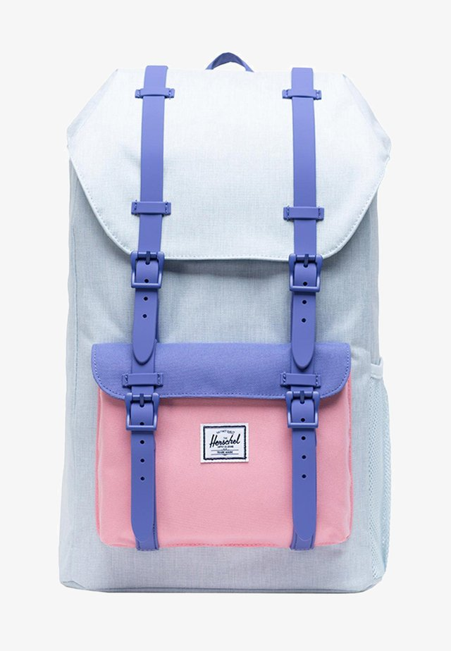 LITTLE AMERICA YOUTH - Rucksack - ballad blue pastel crosshatch/candy pink/dusted peri