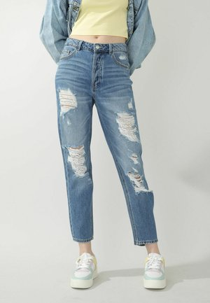 HIGH WAIST IM DESTROYED-LOOK - Straight leg jeans - denimblau