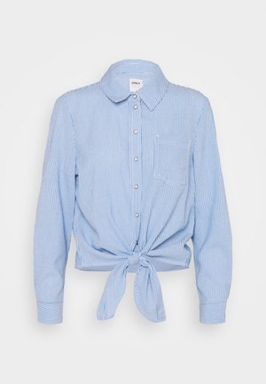ONLLECEY STRIPE KNOT - Button-down blouse - cloud dancer/medium blue