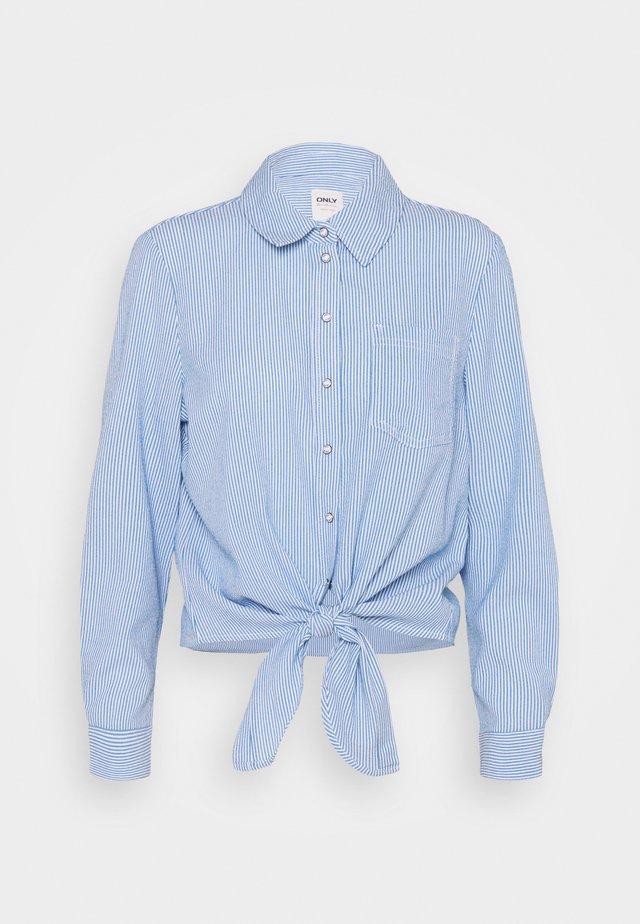 ONLLECEY STRIPE KNOT - Overhemdblouse - cloud dancer/medium blue