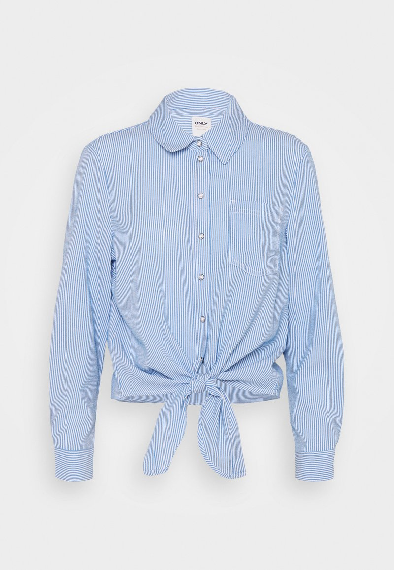 ONLY - ONLLECEY STRIPE KNOT - Overhemdblouse - cloud dancer/medium blue