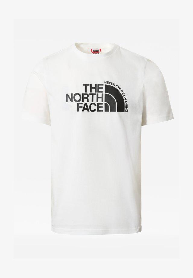 M CURVED EXPLORATION TEE - T-shirt print - tnf wht/tnf blck/tnf blck