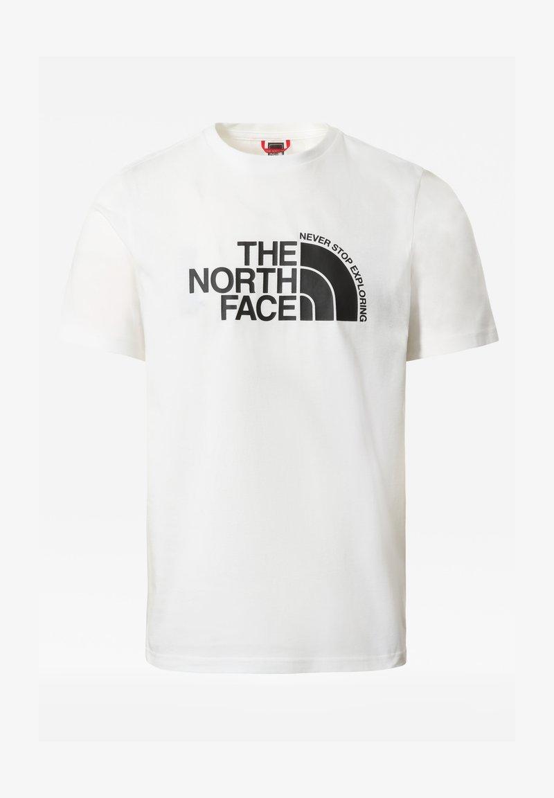 The North Face - M CURVED EXPLORATION TEE - T-shirt print - tnf wht/tnf blck/tnf blck