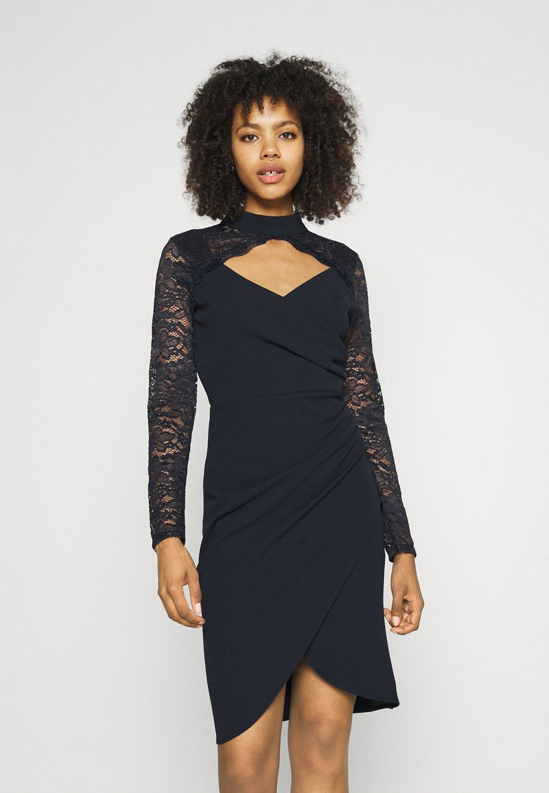 WAL G. - SONIA LACE DETAIL MIDI DRESS - Cocktail dress / Party dress - navy blue