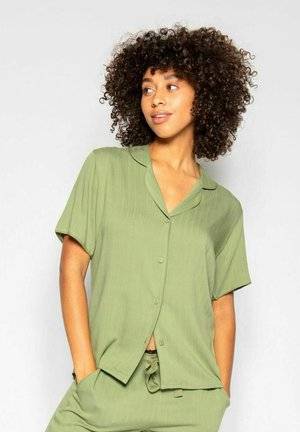 Pyjama top - green herringbone