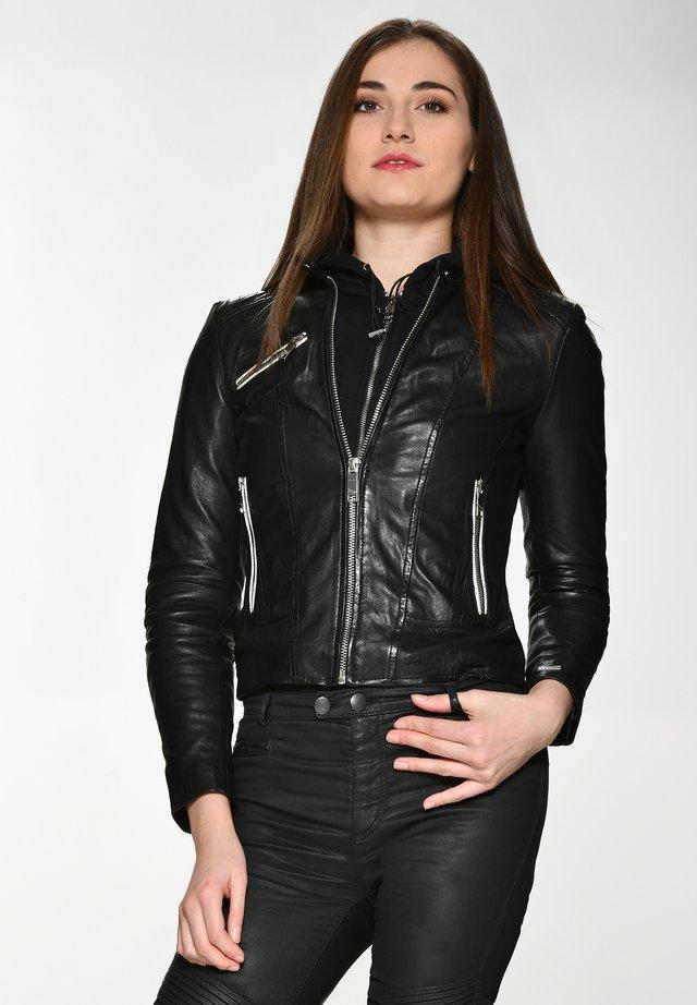 Leather jacket - black/white