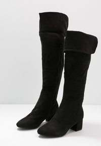 Simply Be - WIDE FIT FELICITY FOLD DOWN KNEE HIGH BOOT - Overknees - black - 7