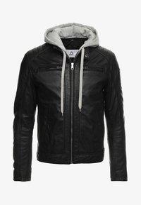 Serge Pariente - SEAN - Leather jacket - black/light grey hood - 5