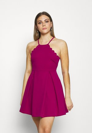 SCALLOP NECK SKATER DRESS - Cocktail dress / Party dress - magenta