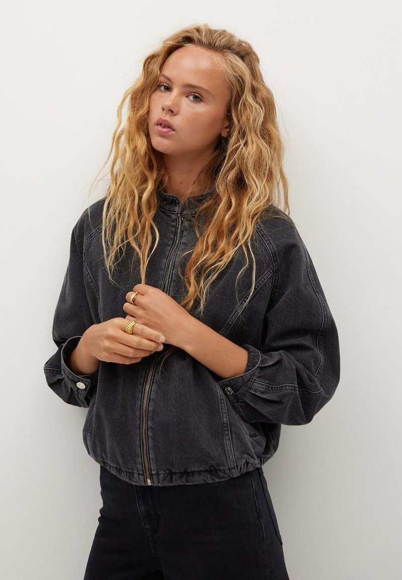 Mango - LUNA - Jeansjacke - black denim
