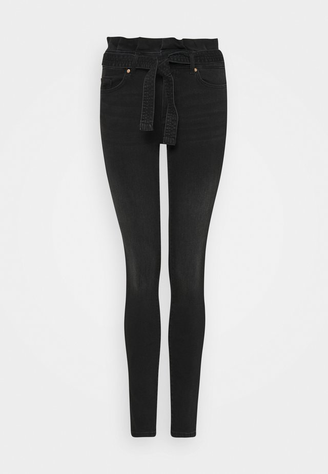 ONLHUSH LIFE MID PAPERBAG - Jeans Skinny Fit - black