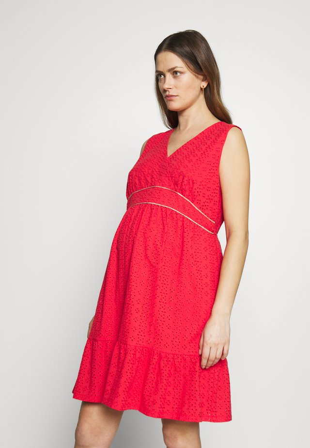 DRESS WITHOUT SLEEVES WRAP NECKLINE - Žerzejové šaty - red